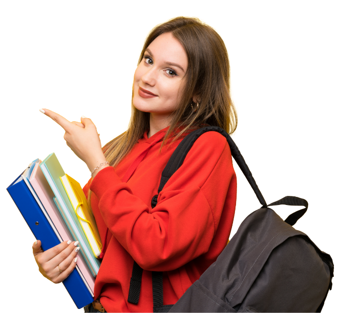 teenager-student-girl-yellow-pointing-finger-side